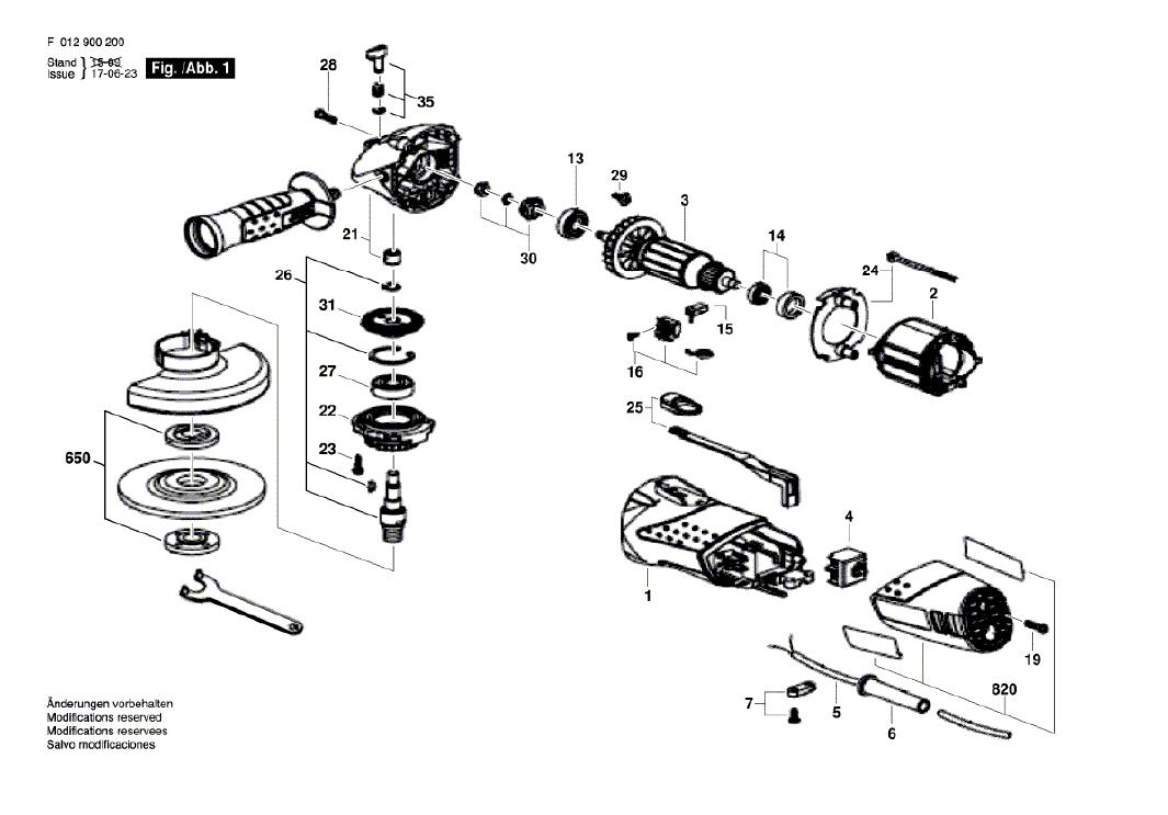 Vista Explodidia  Peças De Reposição Para Esmerilhadeira 9002 Skil - F0129002Ab / 2JA