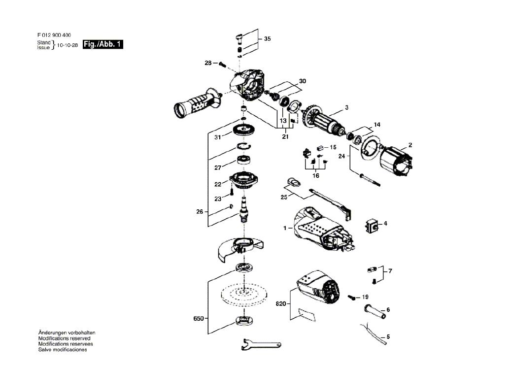 Vista Explodidia  Peças De Reposição Para Esmerilhadeira 9004 Skil - F0129004AL / 4JQ