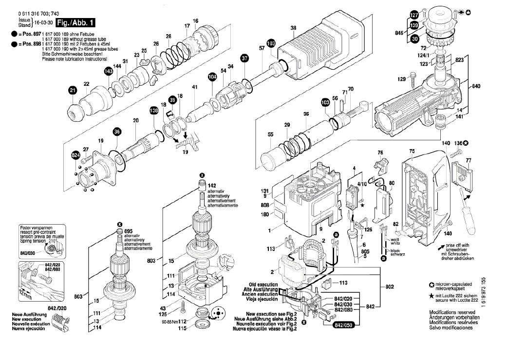 Vista Explodidia  Peças De Reposição Para Martelo Demolidor GSH 11 E - 0611316714