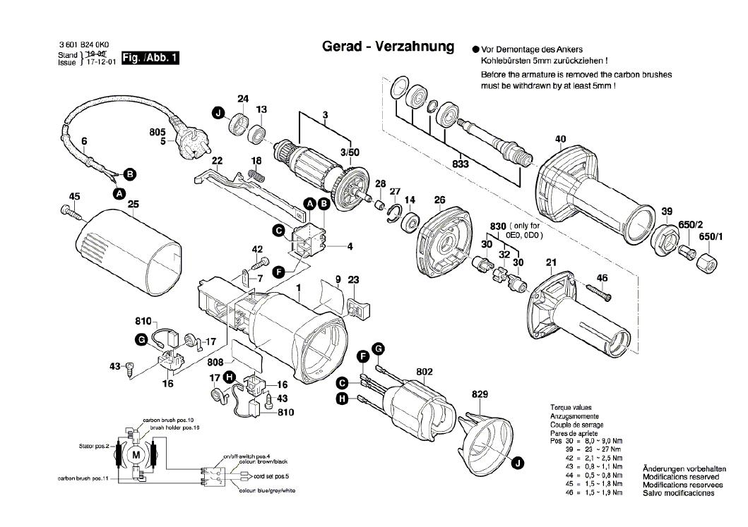Vista Explodidia  Peças De Reposição Para Retificadeira GGS 28 - L - 3601B240D0