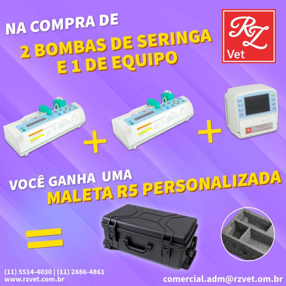 02 Bomba de Seringa RS700Vet + 01 Bomba de Equipo RE700Vet + Maleta R5 de brinde