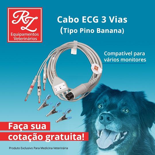 Cabo ECG 03 Vias Tipo Pino Banana