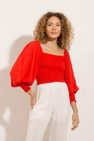 Blusa Bordada Lastex Vermelha