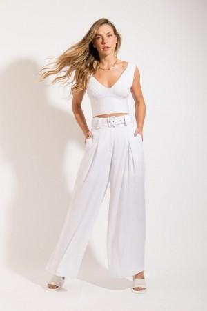 Calça Pantalona Cinto Branca