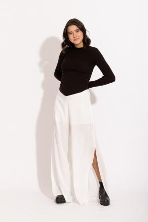 Calça Pantalona Fendas branca