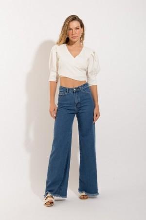 Calça Pantalona Jeans Escura