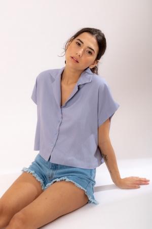 Camisa Linho Lavanda Clara