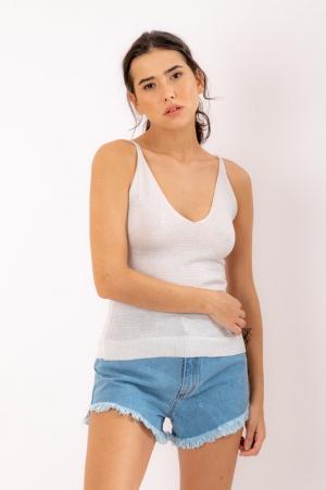 Blusa Lurex Branca