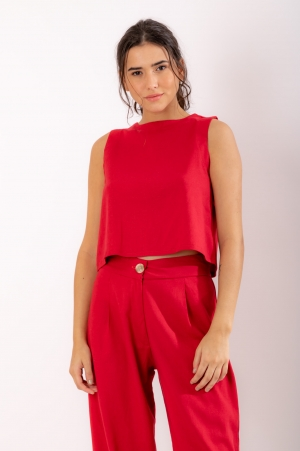 Blusa Linho Vermelho