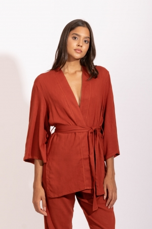 Kimono Faixa Telha