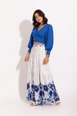 Saia Longa Estampa Floral Azul