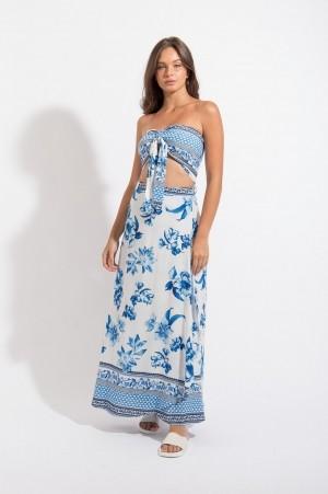 Saia Longa Transpassada Floral Azul