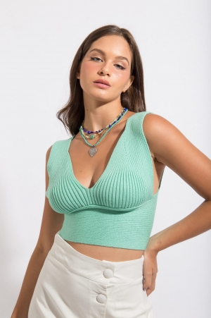 Top Cropped Tricot Verde