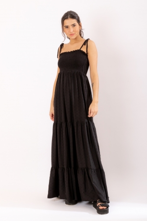 Vestido Lastex Preto