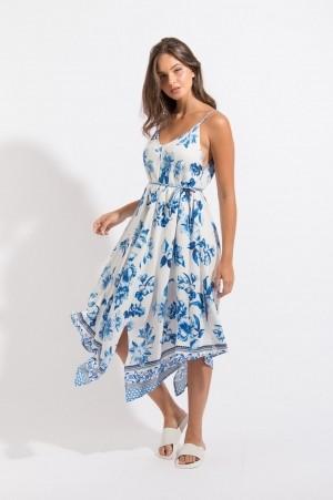 Vestido Pontas Floral Azul