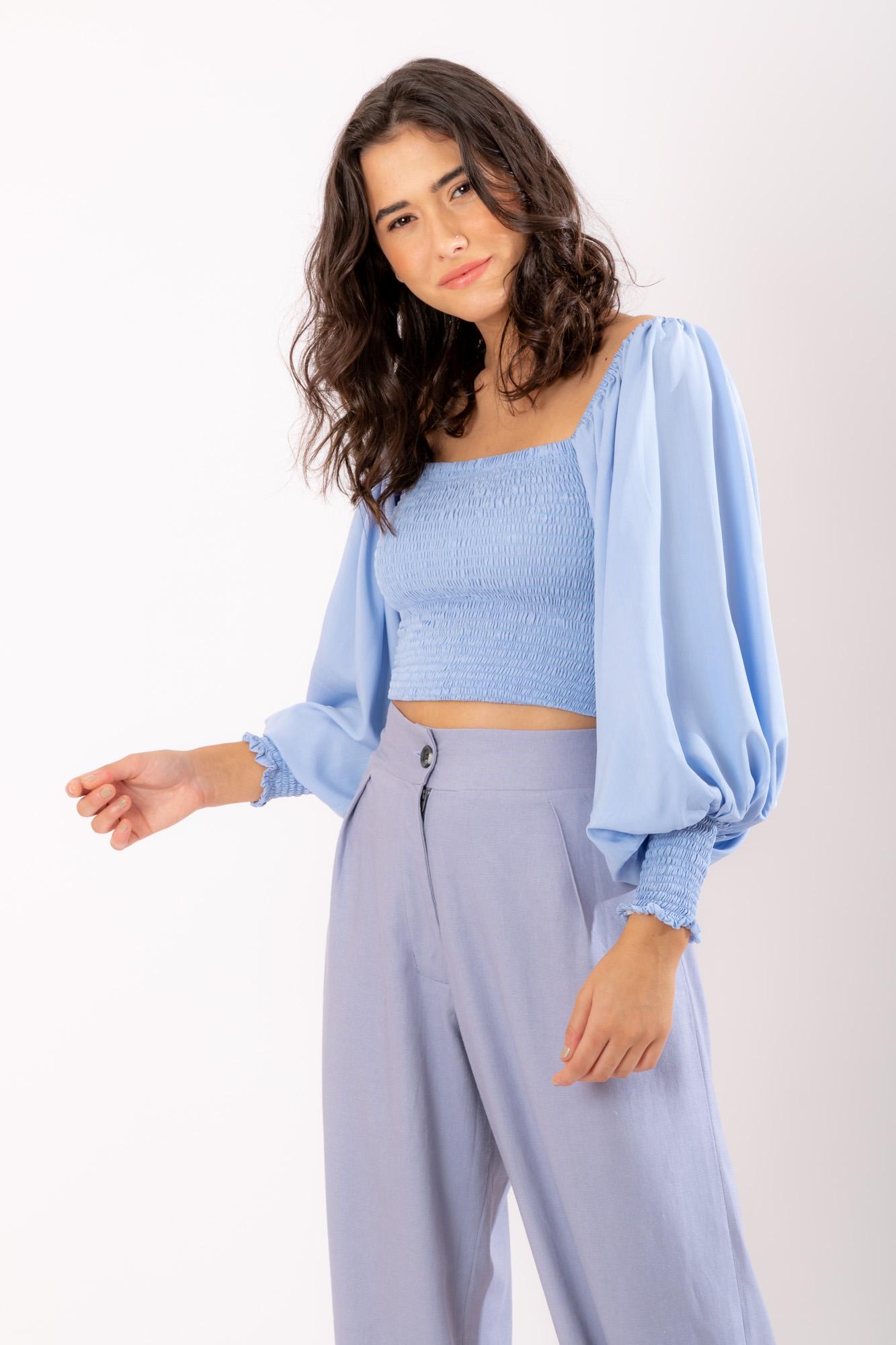 Blusa Lastex Azul Clara