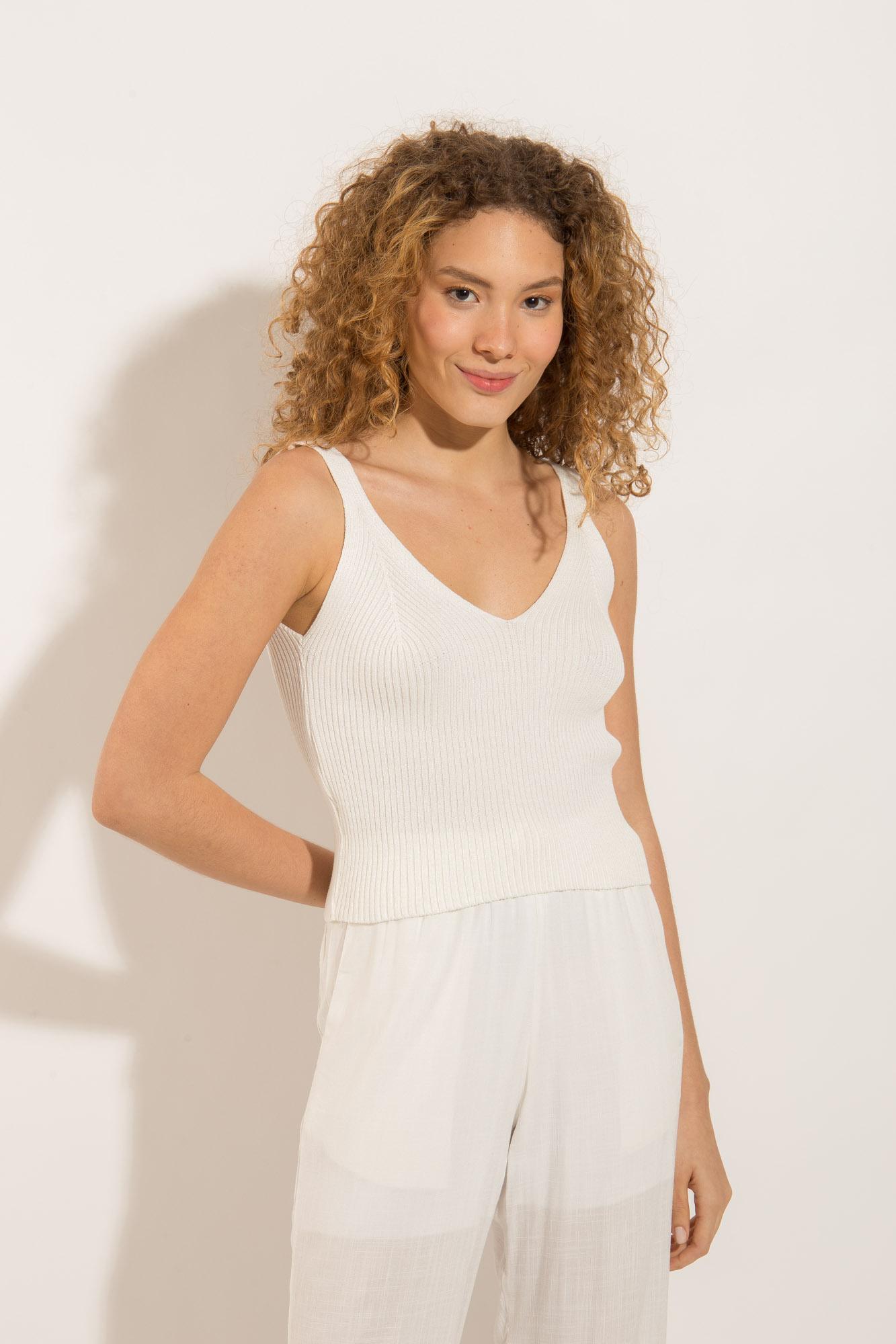 Blusa Tricot Detalhes Off White