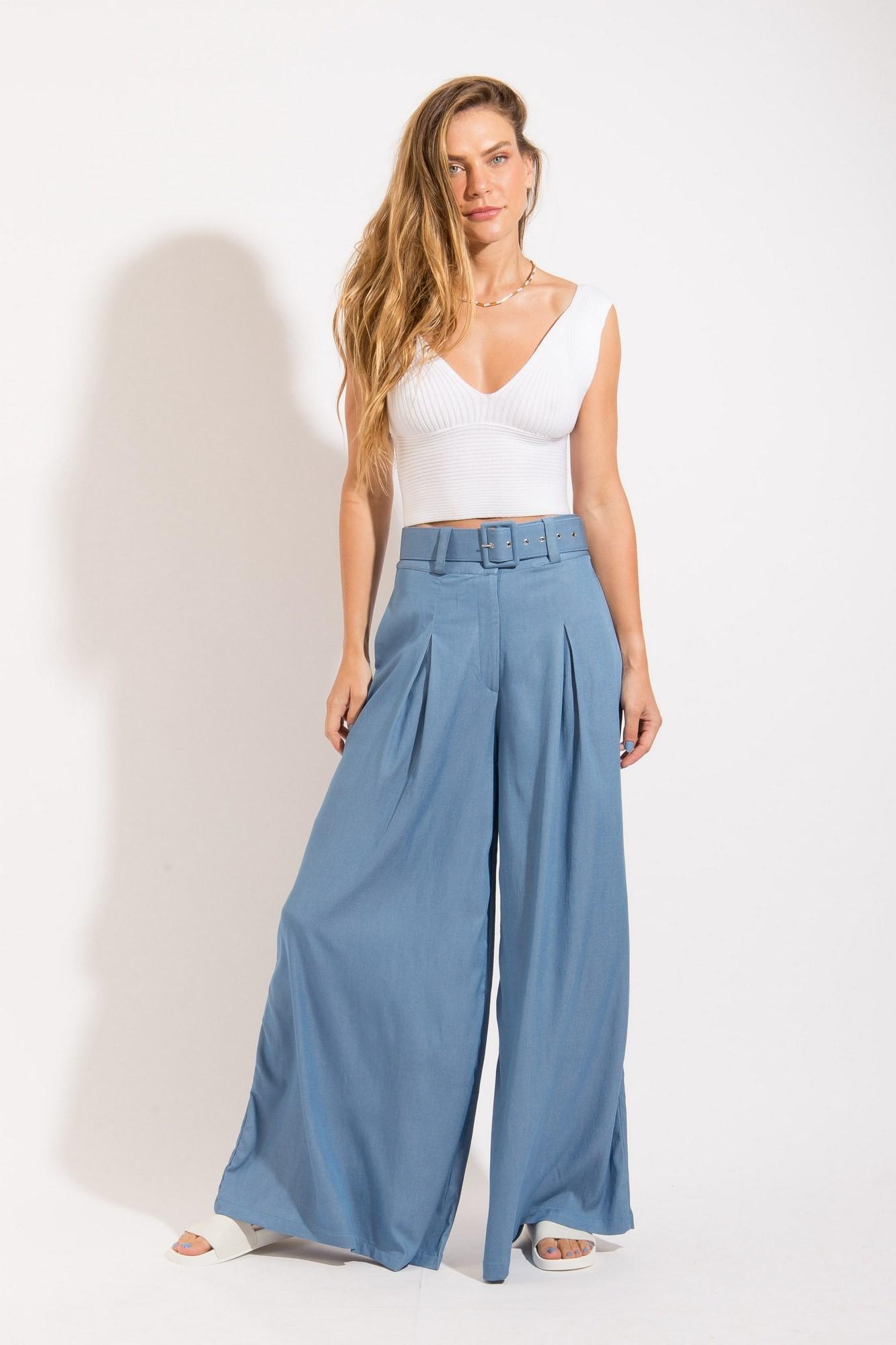 Calça Pantalona Cinto Azul Estonado