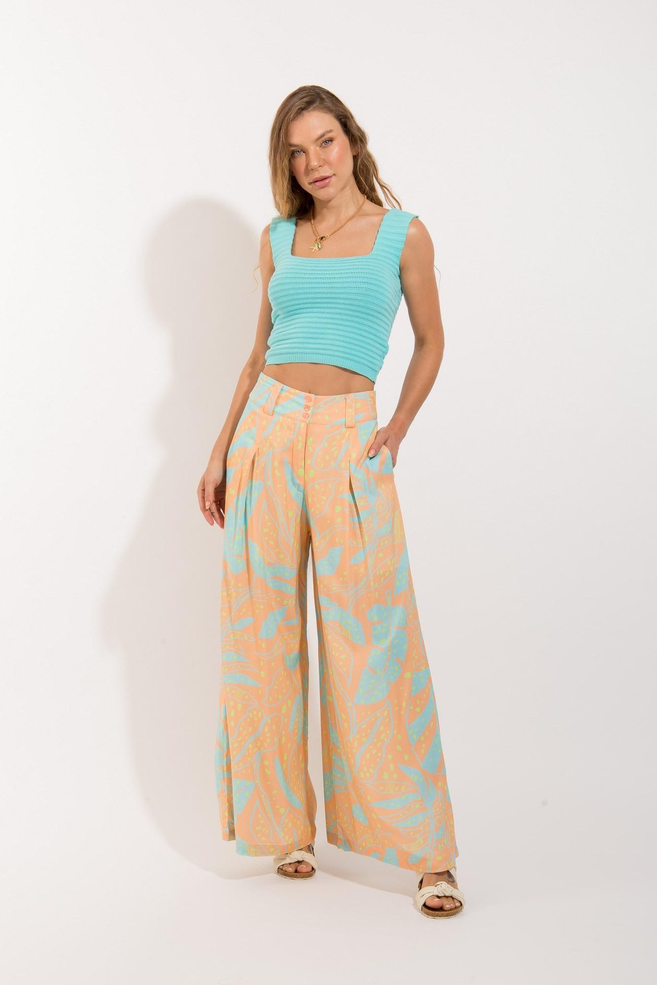 Calça Pantalona Cinto Floral Citrica