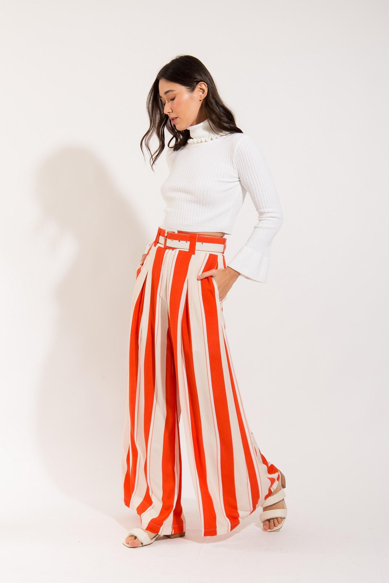 Calça Pantalona Estampa Listras Bicolor