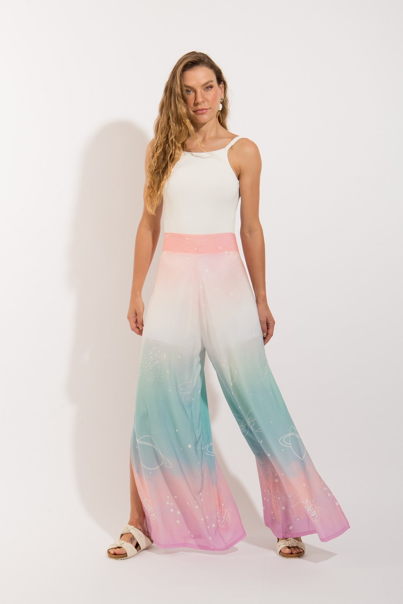 Calça Pantalona Fendas Esotérica