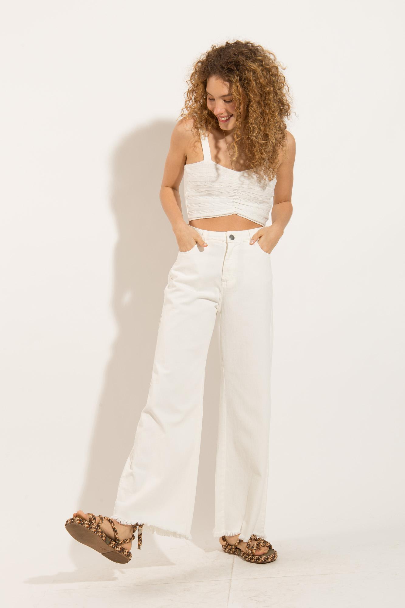 Calça Pantalona Jeans Branca
