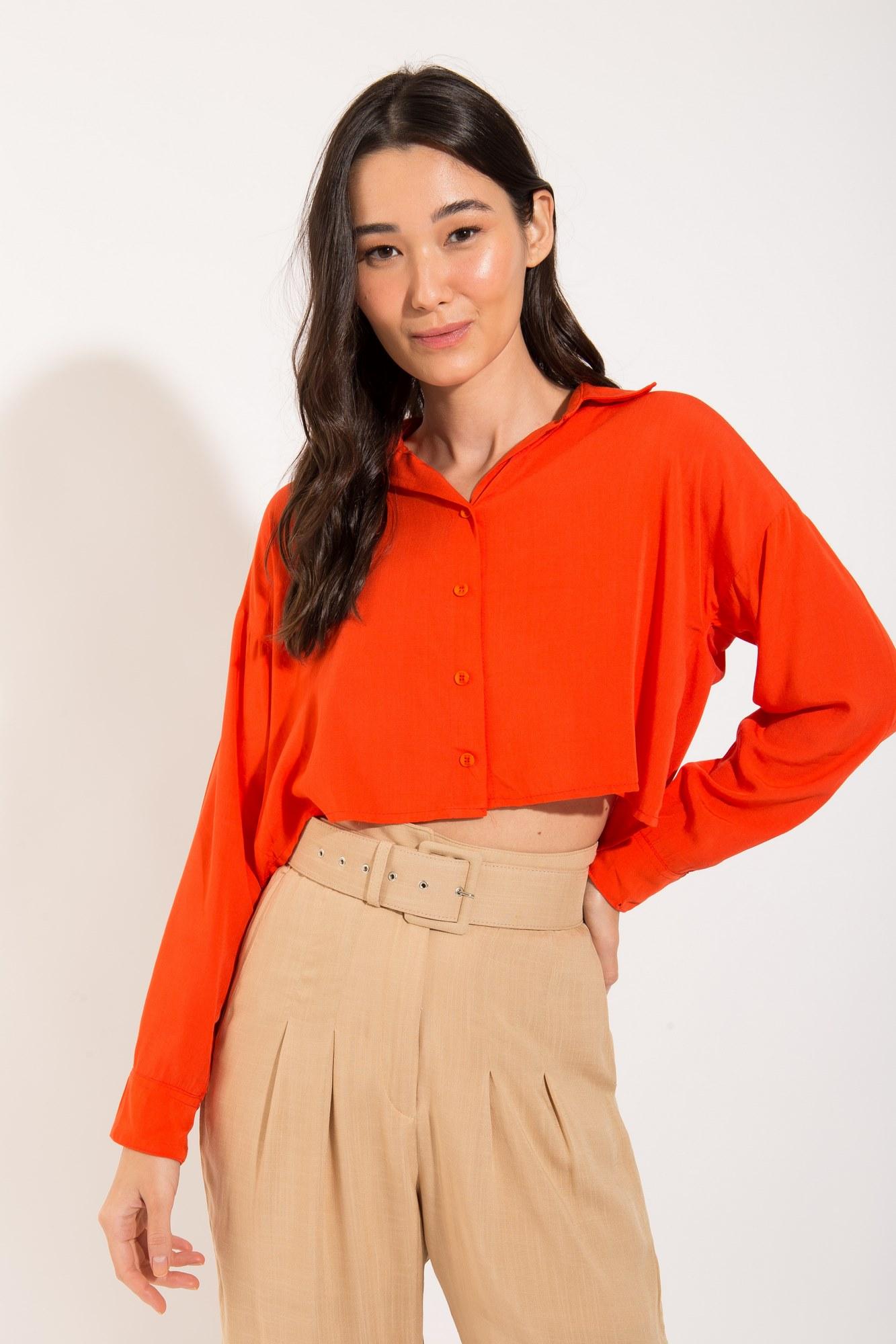 Camisa Manga e Botões Coral