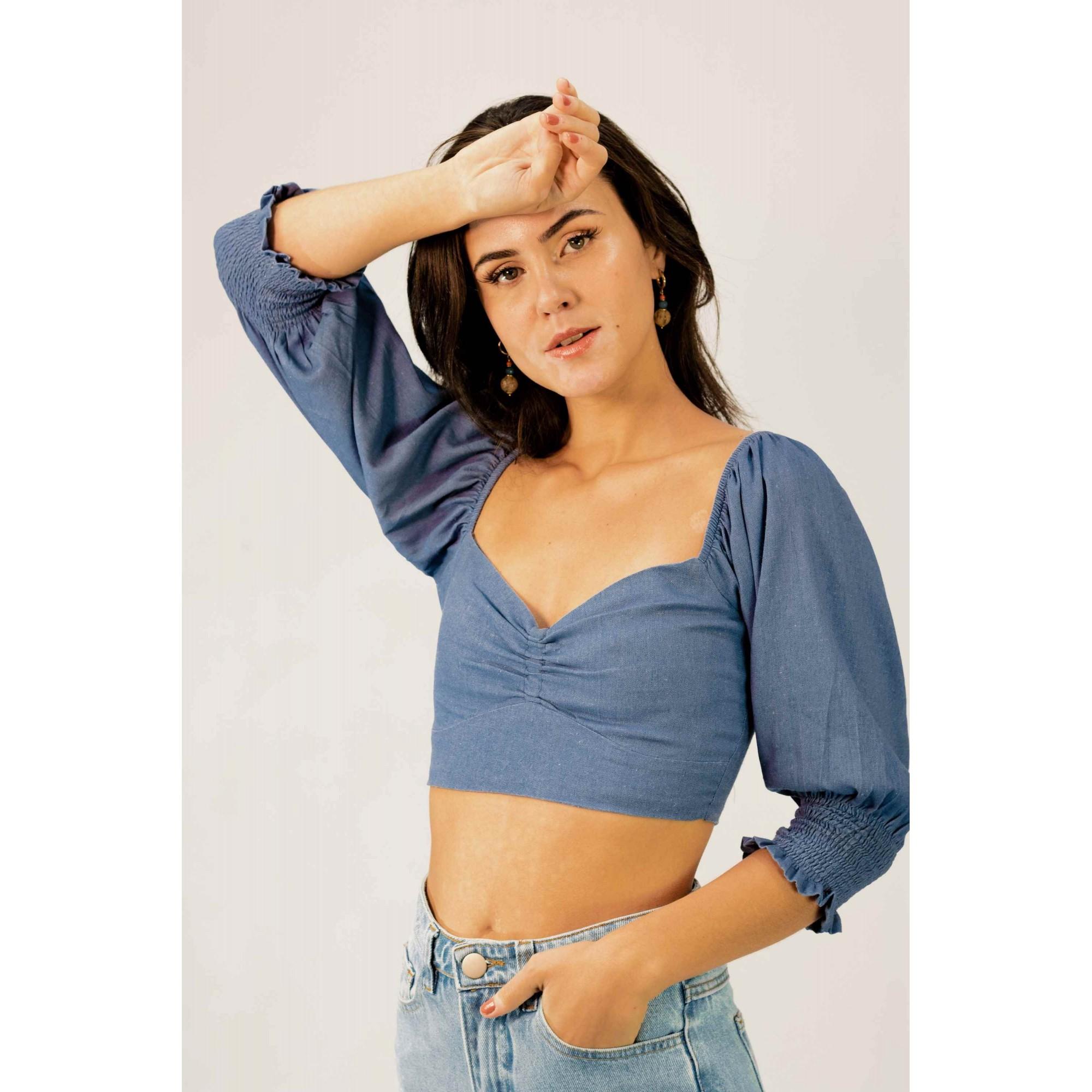 Cropped Linho Azul Jeans