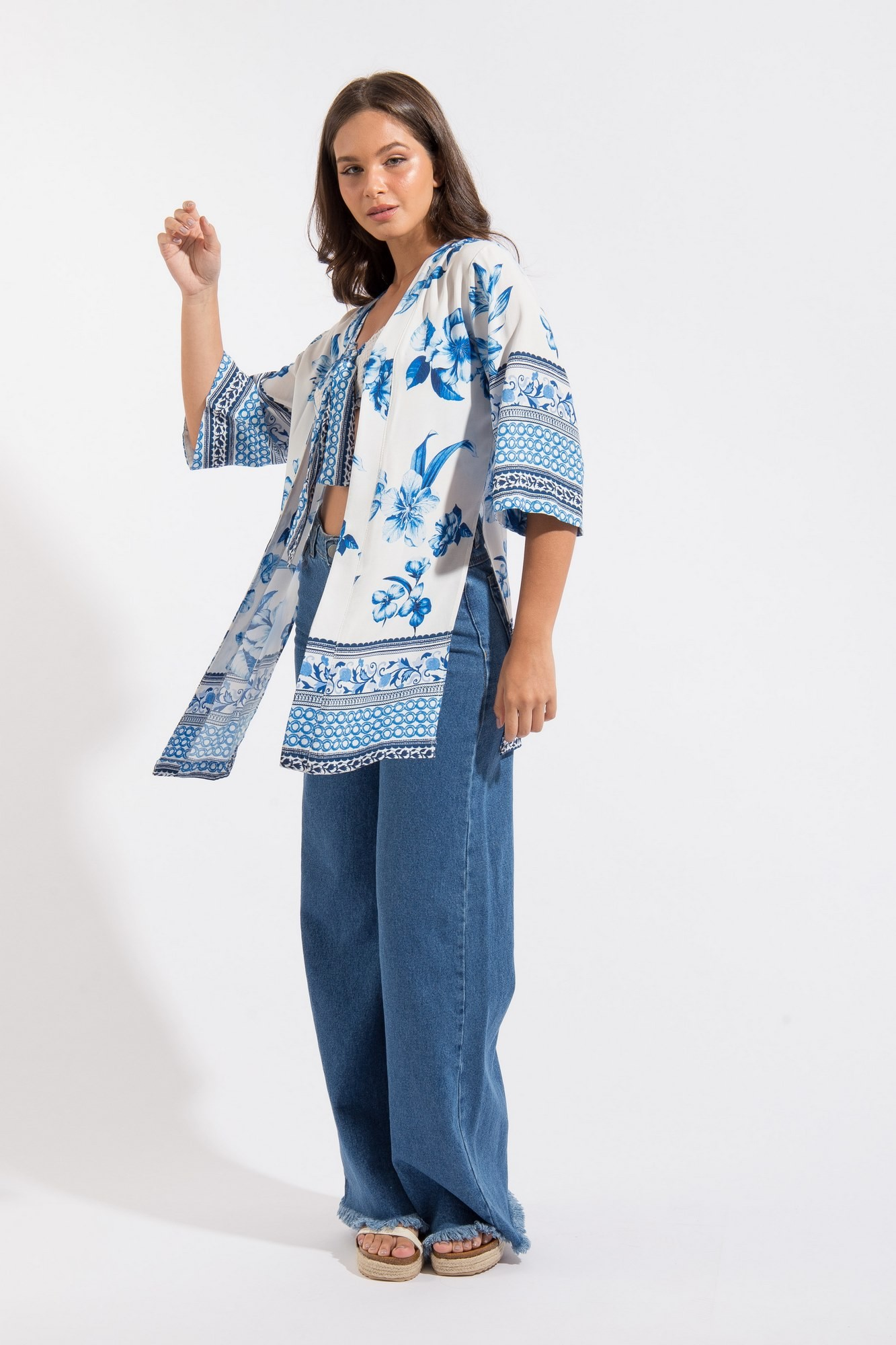 Kimono Estampa Floral Azul