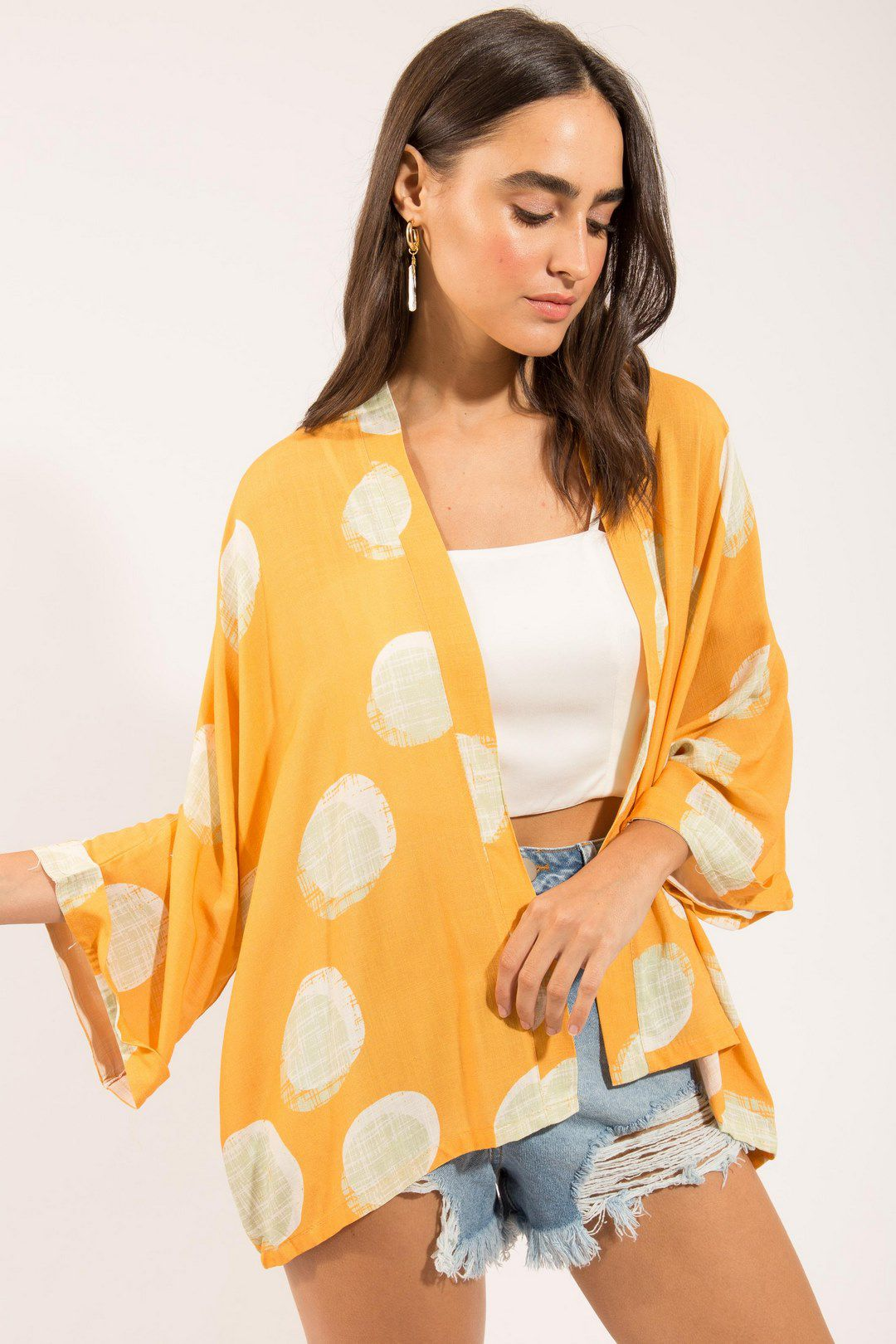 Kimono Poá Mostarda