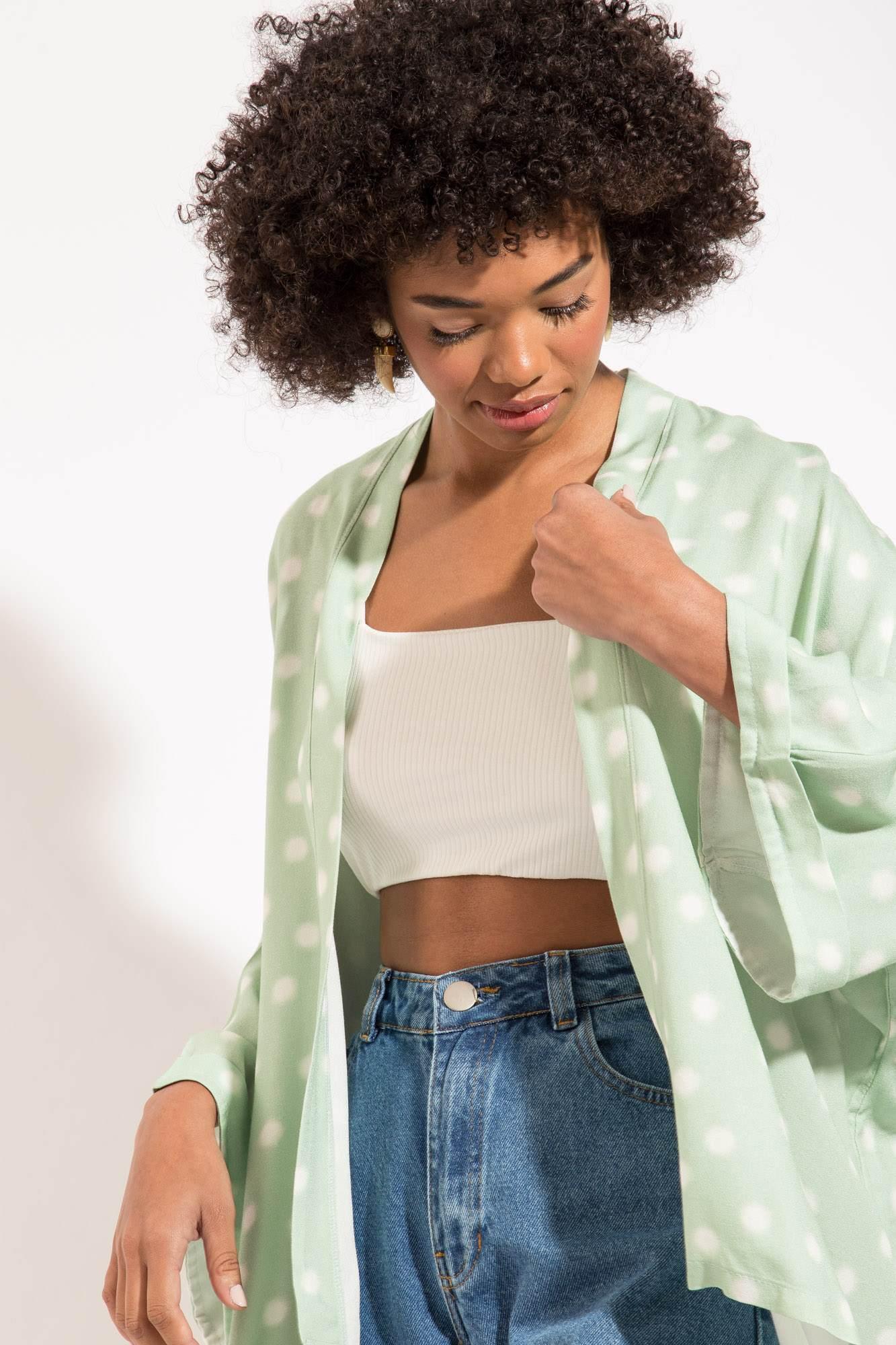 Kimono Poá Verde