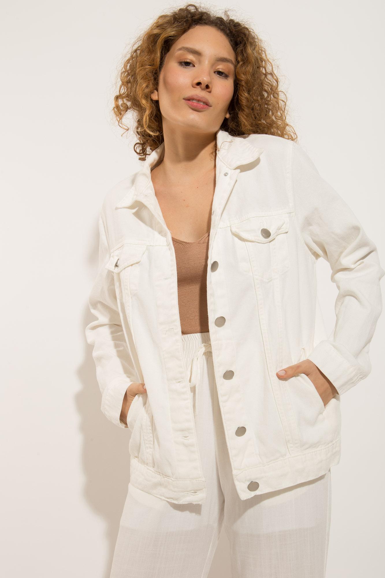 Maxi Jaqueta Jeans Branca