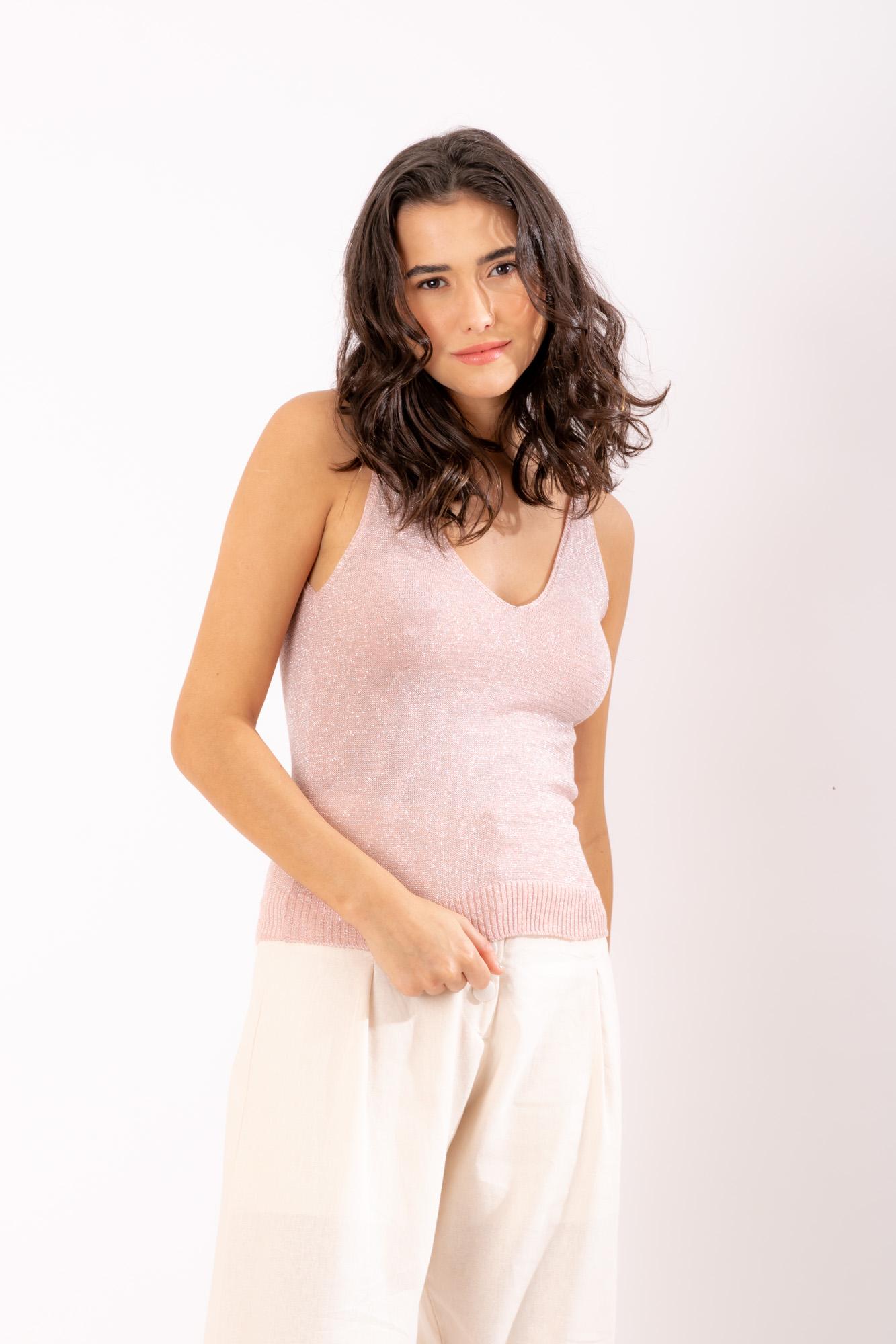 Blusa Lurex Rosa Clara
