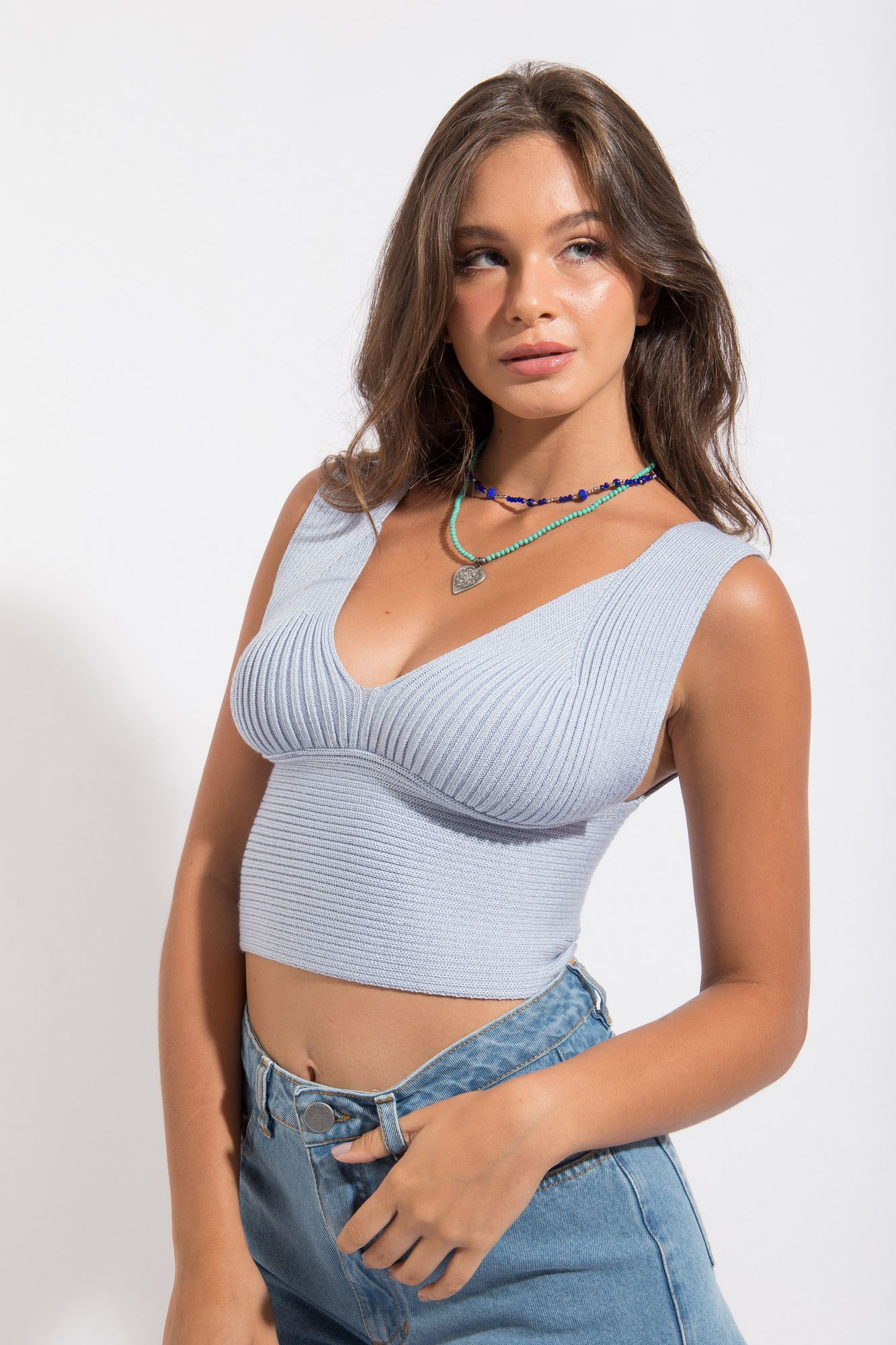 Top Cropped Tricot Azul