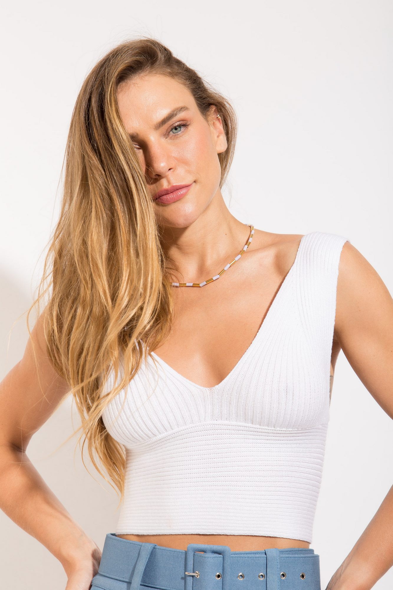Top Cropped Tricot Branco