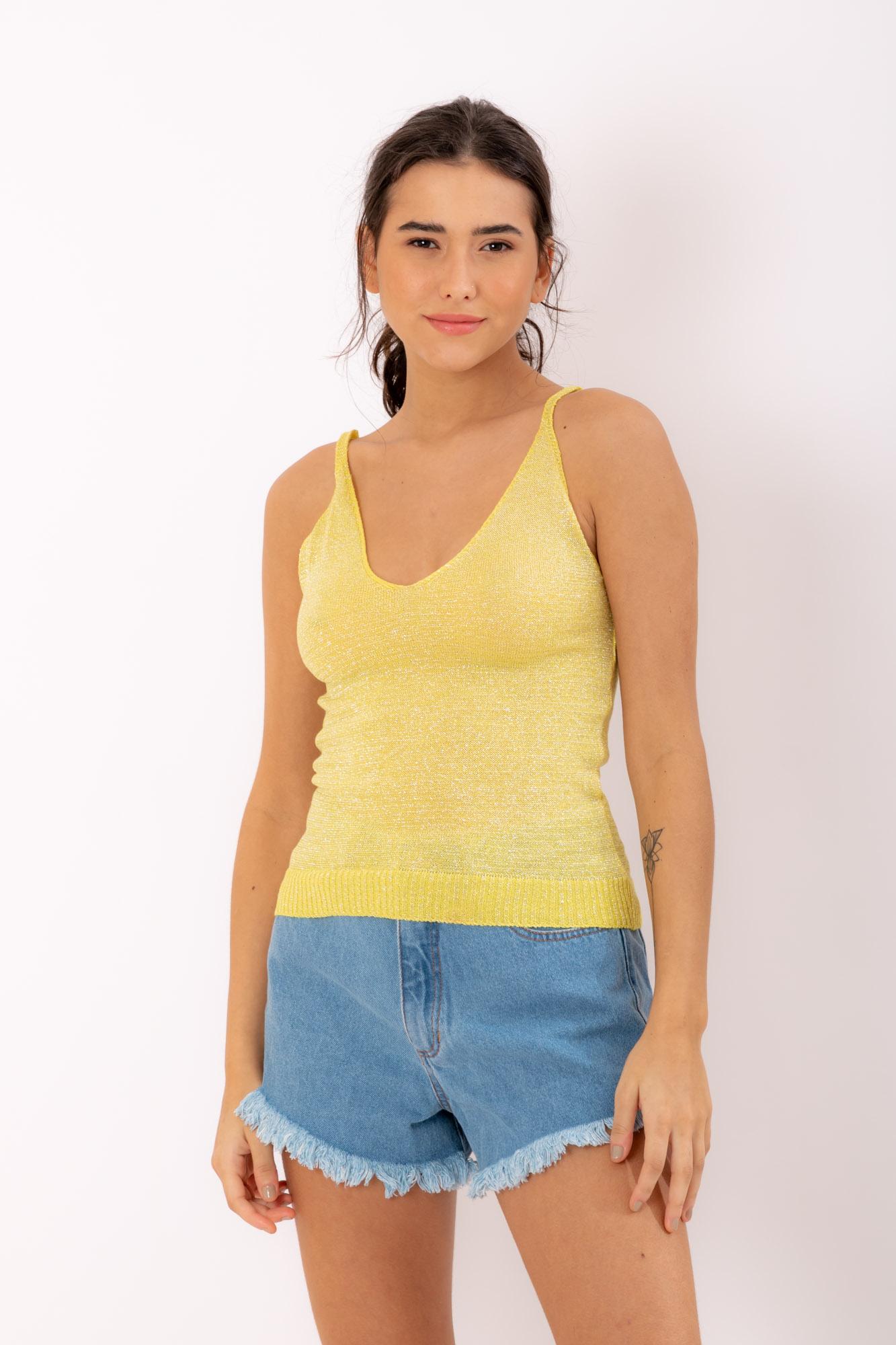 Blusa Lurex Amarela