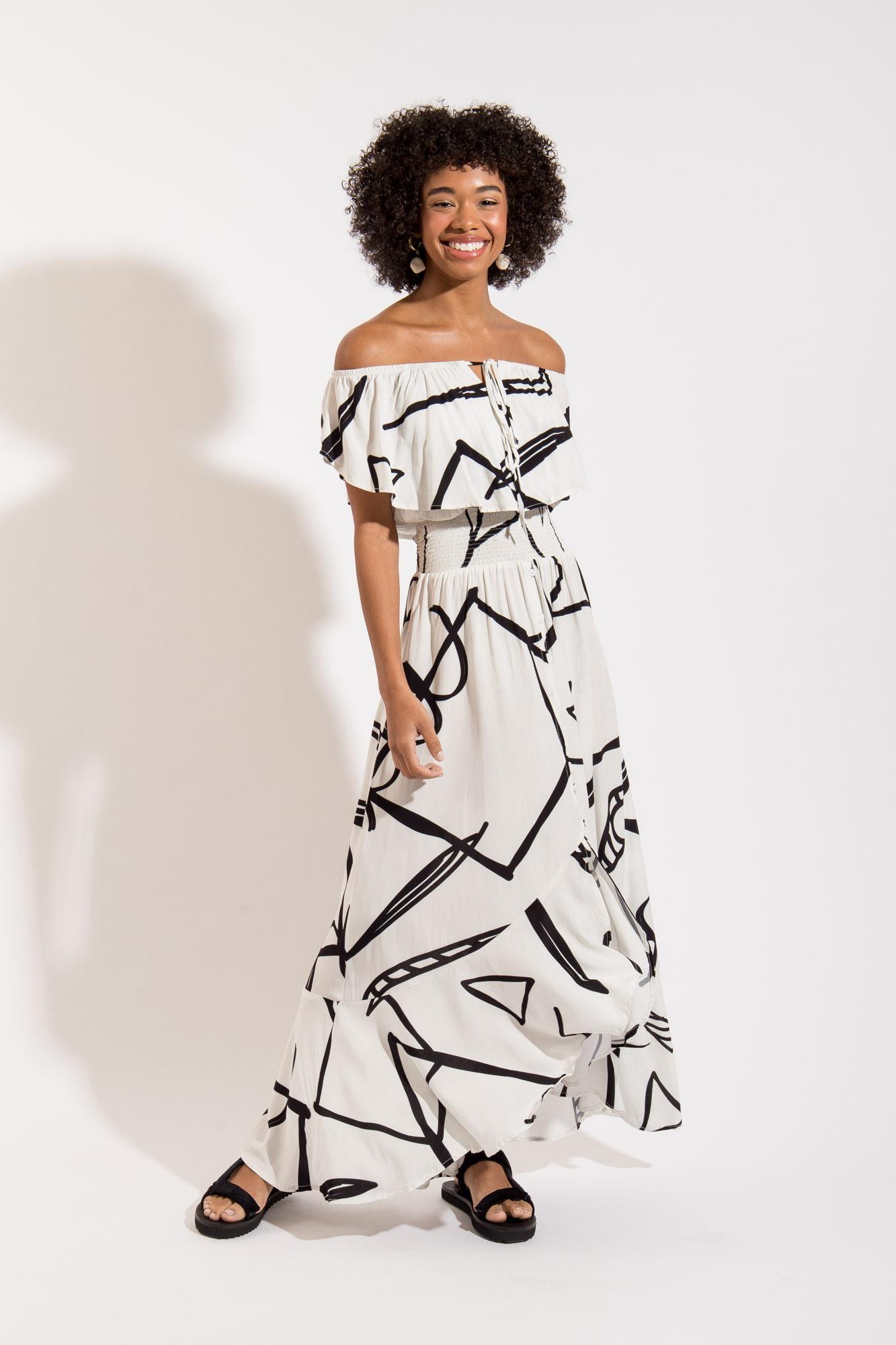 Vestido Lastex Gráfico Pb