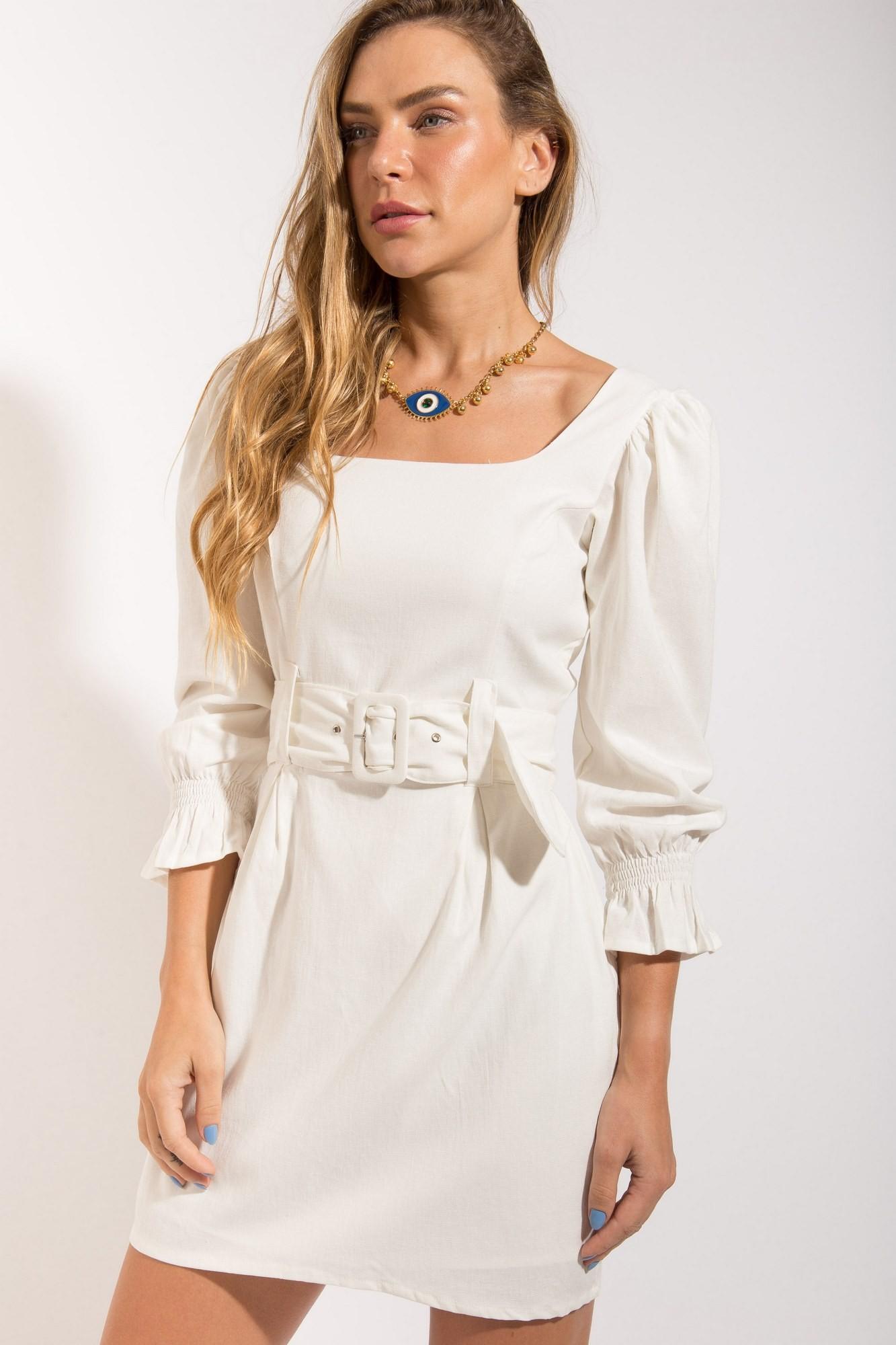 Vestido Linho Manga Bufante Off White