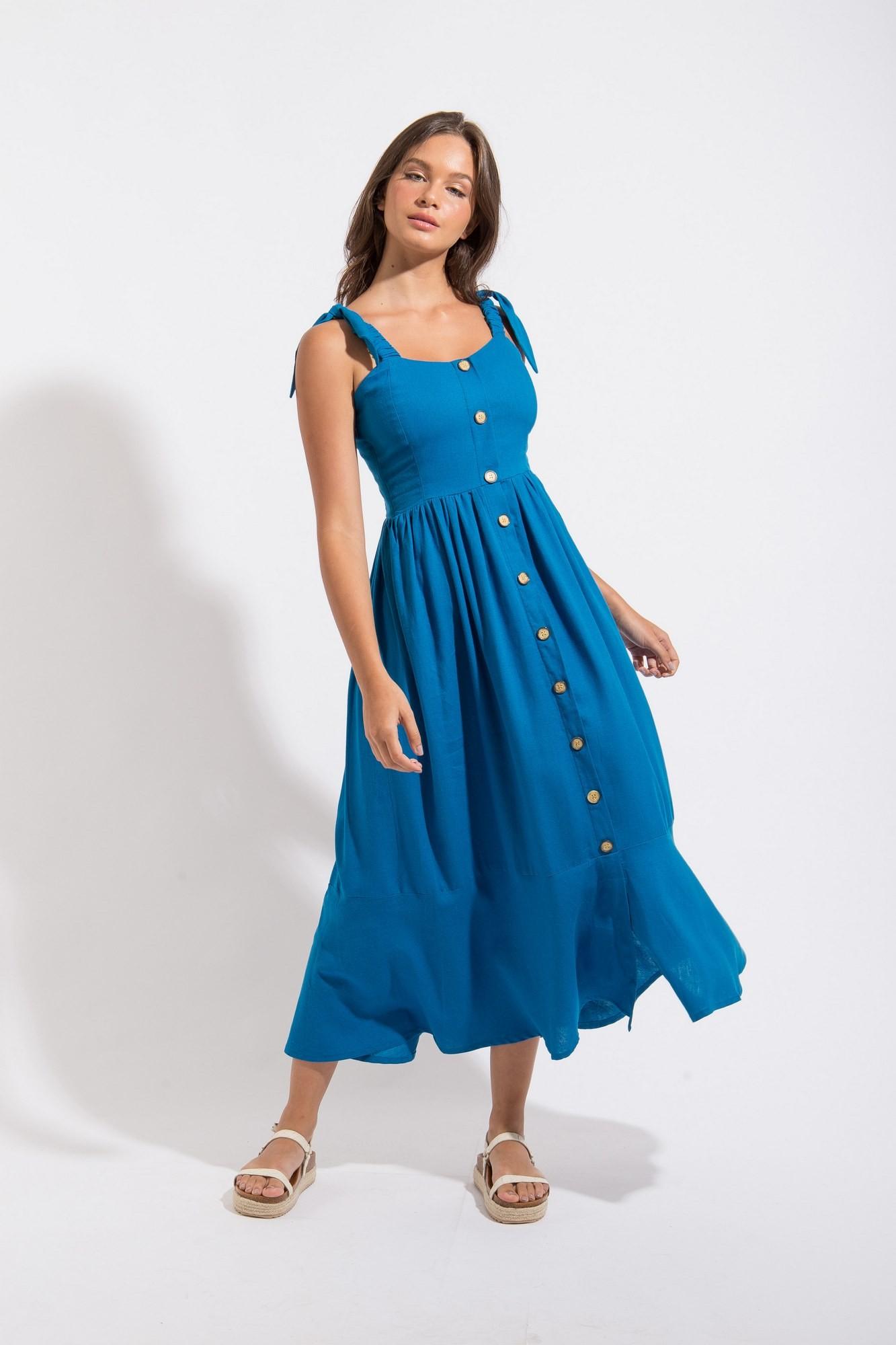 Vestido Midi Linho Nó  Azul