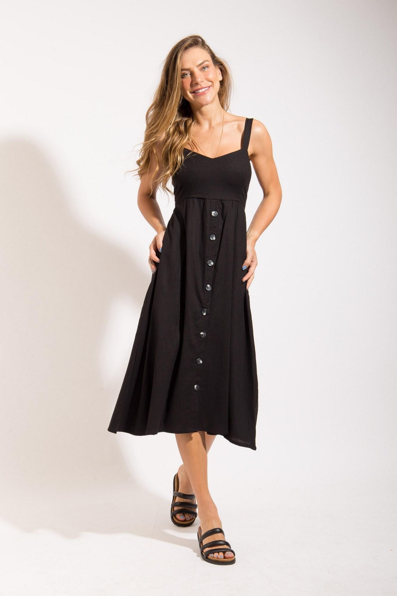 Vestido Midi Linho Preto