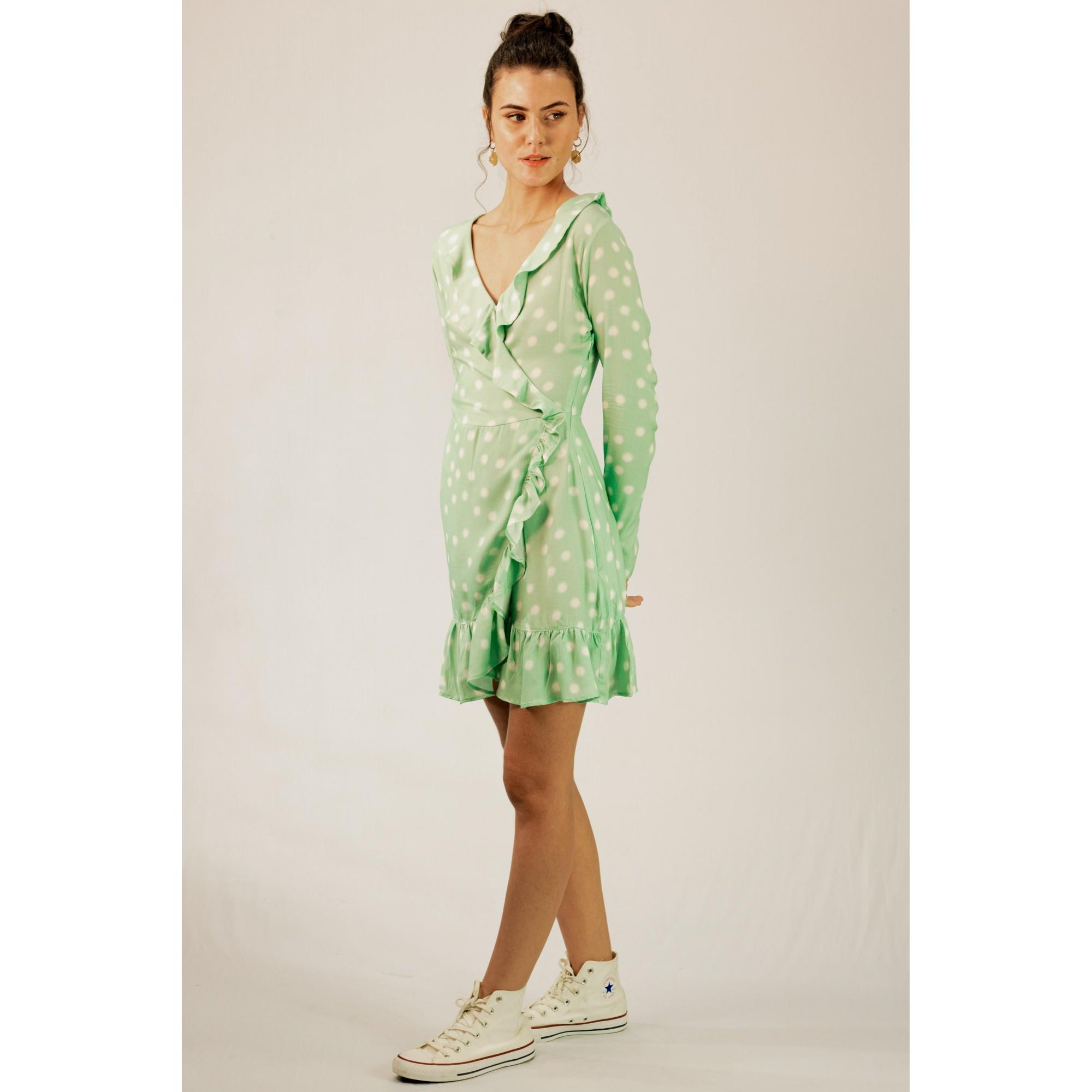 Vestido Transpassado Poá Verde