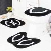 Jogo de Banheiro Formato Chinelo Preto 3 peças