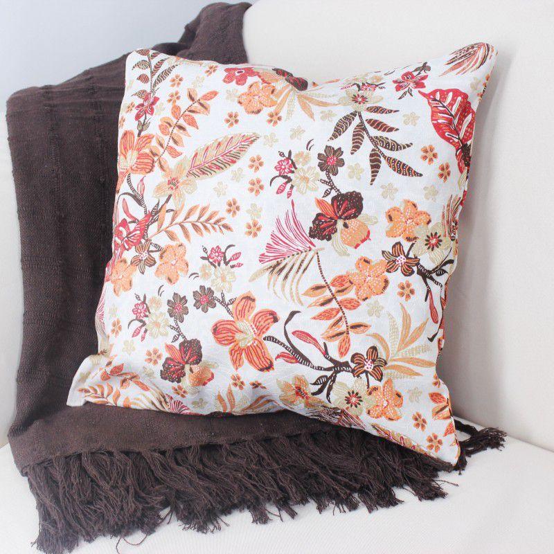 Capa Almofada Soft 42x42cm 227 Jacquard Floral Tangerina Antx