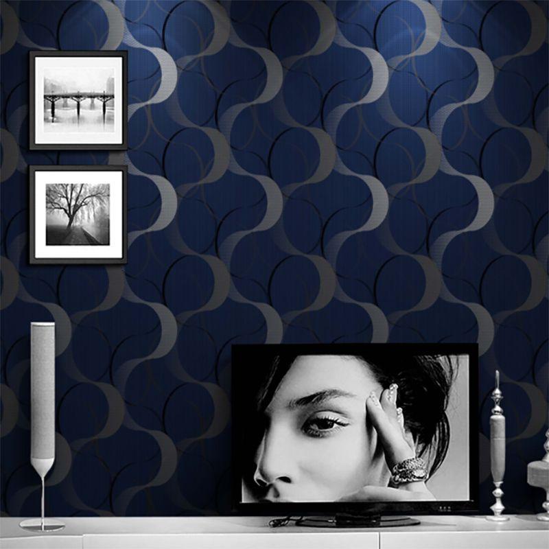 Papel de Parede Importado Azul com Textura Prata