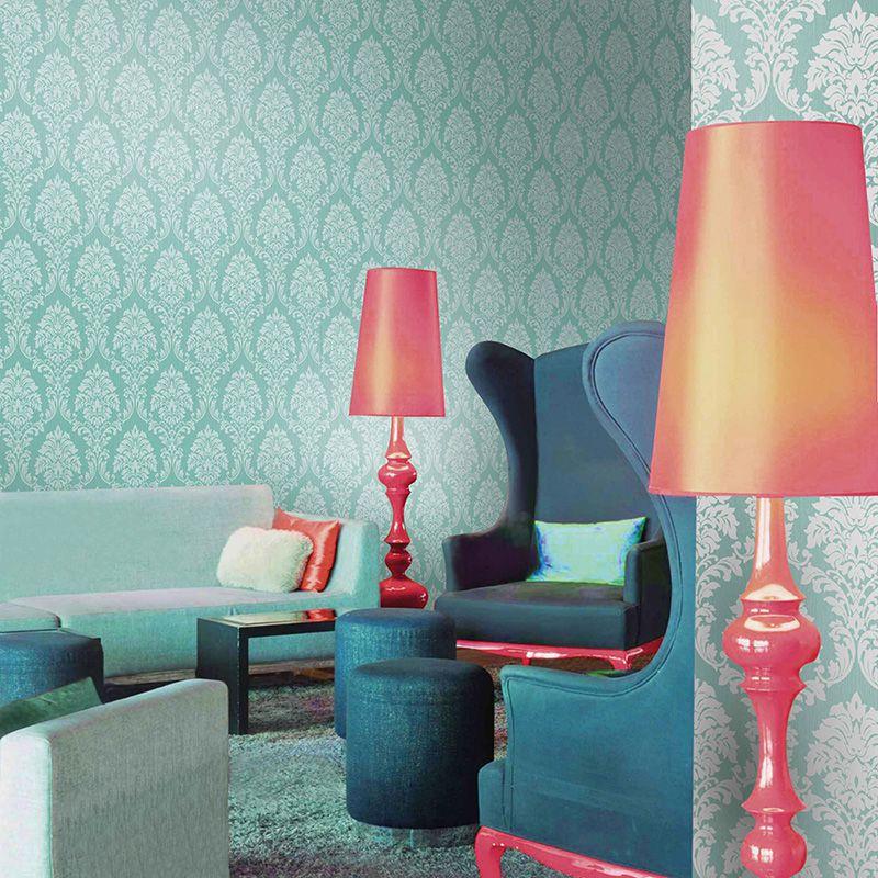 Papel de Parede Importado Azul Tiffany para Quarto e Sala