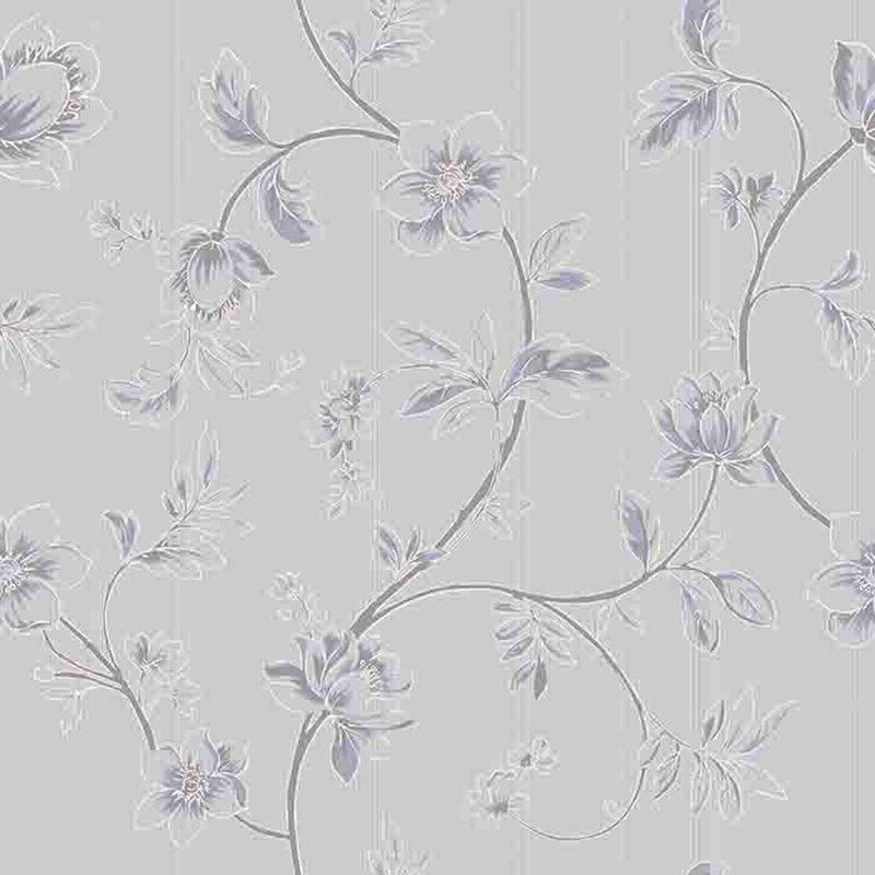 Papel de Parede Importado Floral Cinza para Quarto e Sala