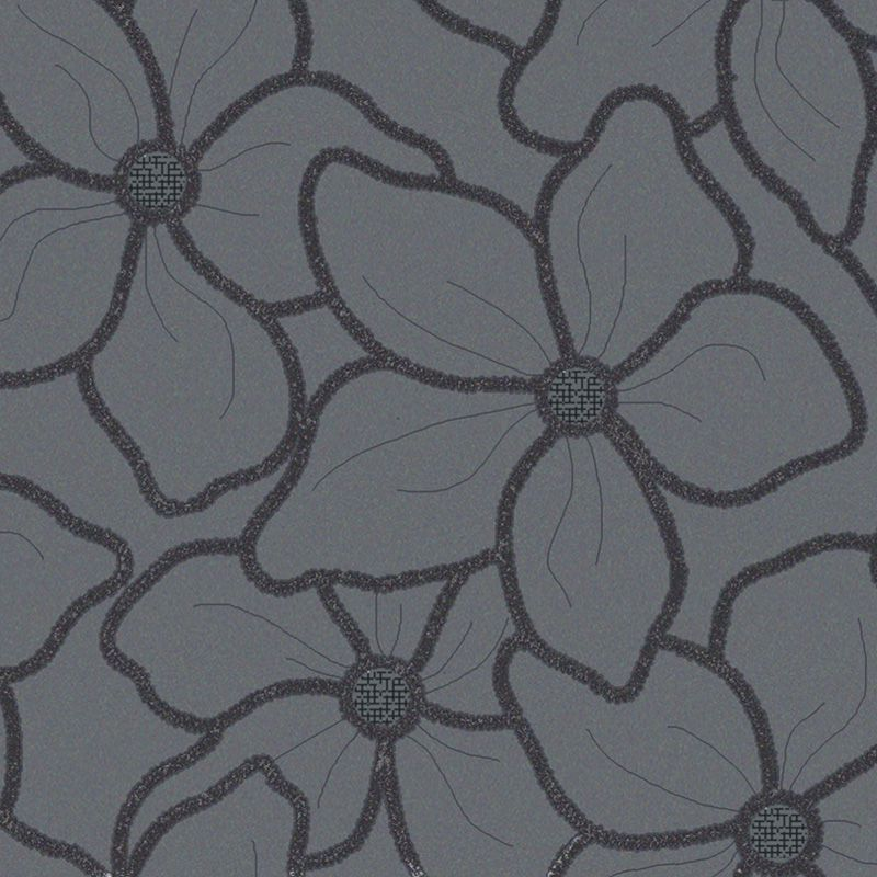 Papel de Parede Importado para Quarto e Sala Floral Cinza