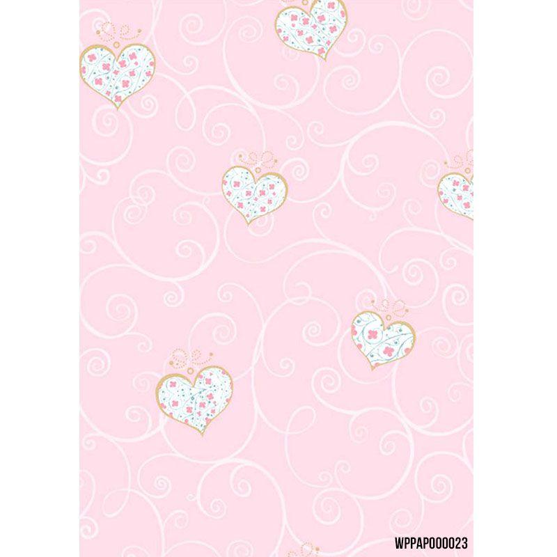 Papel de Parede Importado Rosa com Estampa de Corações