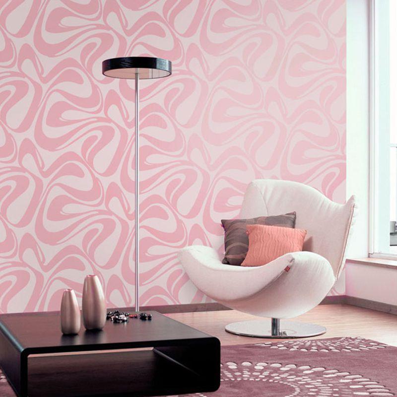 Papel de Parede Lavável Rosa e Branco com 2 tipos de Texturas