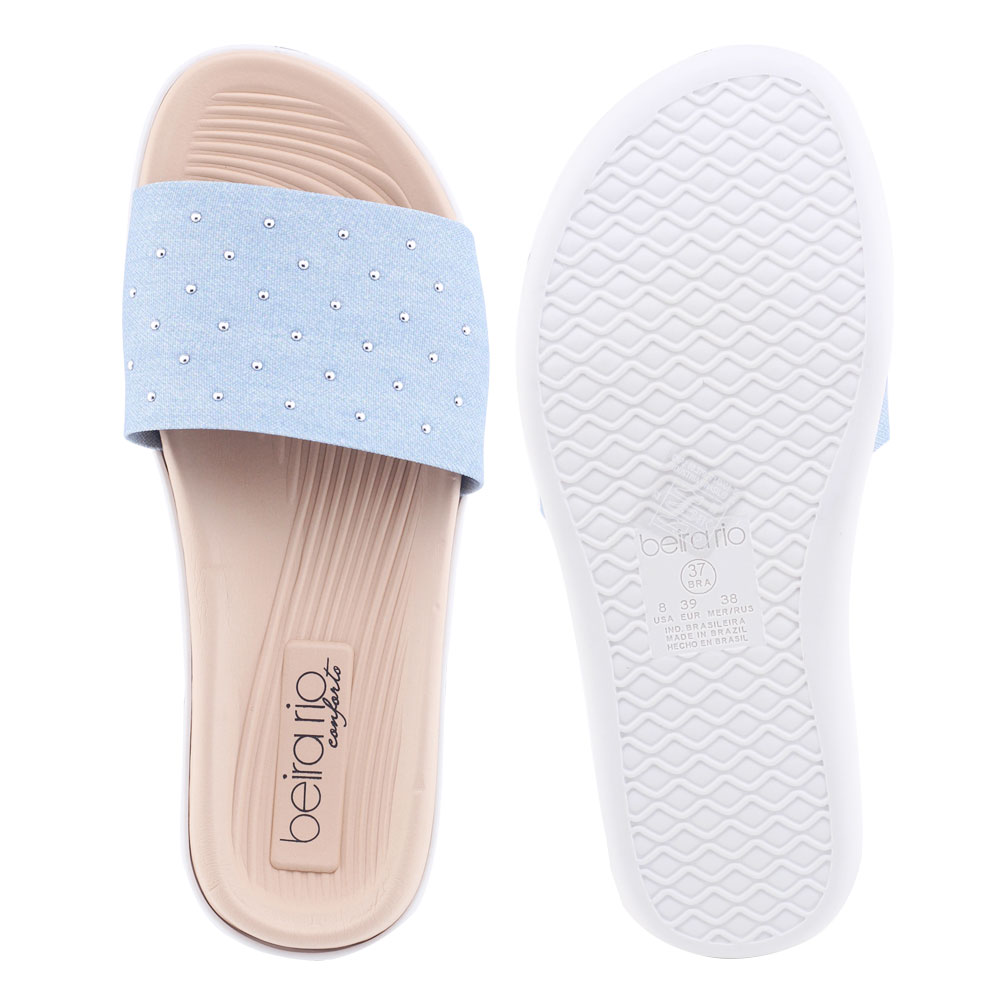 Chinelo Feminino SlipOn Beira Rio 8360.234 Jeans claro washed